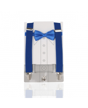View of the Boys Adjustable Elastic Y-Back Plain Brace with Bow Tie Set in Blue