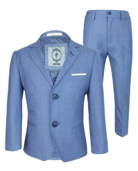 Men's & Boys Matching Blue Slim Fit Formal Suit picture