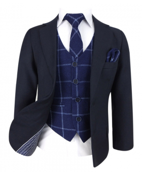 Designer Boys Navy suit with Tweed Check Navy Waistcoat Set