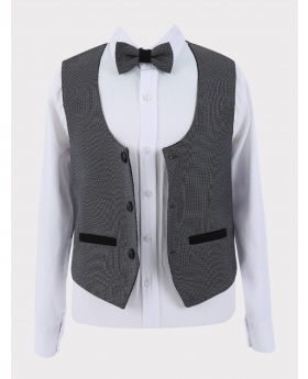 Single-Breasted Grey Textured Waistcoat with accessories Open Picture
