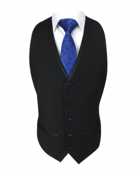 Single-Breasted Waistcoat in Black Front  Pcture
