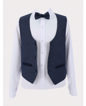 Single-breasted waistcoat with a white shirt and bow tie open front picture