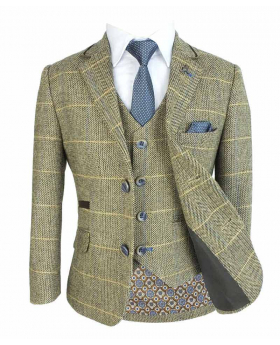 Cavani Mens & Boys Tan Brown Wool Blend Herringbone Check Tweed Suit