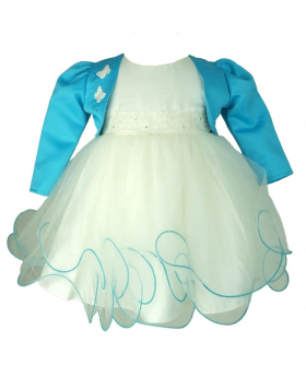 Frazer & James ivory Sparkle Christening Wedding Dress with Blue Butterfly Bolero Jacket