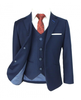 Boys Matching Slim Fit Navy Blue Suit with accessories front open picture