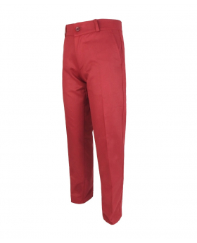Designer Boys Slim Fit Straight Leg Red Burgundy Chino Trousers