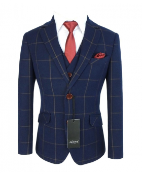 View of the blazer jacket with shirt, tie and hanky of the Boys Exclusive Woven Effect Navy Brown Check Suit