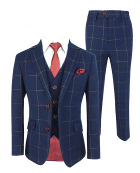 View of the Blazer Jacket, waistcoat, shirt, tie, hanky and trousers of the Boys Exclusive Woven Effect Navy Brown Check Suit