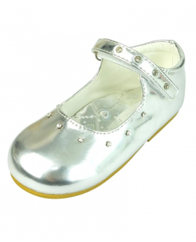 Romano Mary Jane Patent Diamante Strap Girls Party Silver Shoes right side
