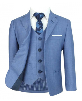 Men's & Boys Matching Blue Slim Fit Formal Jacket and waistcoat with accessories front picture