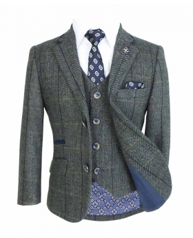 Front view of the Cavani Mens & Boys Grey Wool Blend Herringbone Check Tweed Suit