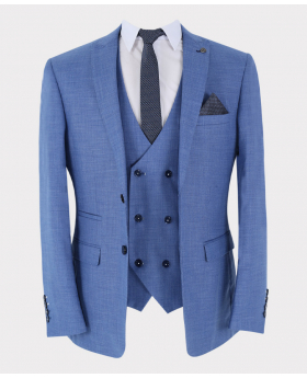 Sky blue blazer Jacket with accessories and waistcoat  Front Picture