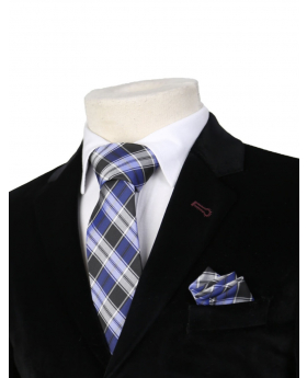 Boys Plaid Neckties Kids Formal Checkered Ties In Navy And Black