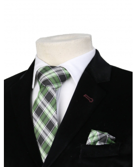 Boys Plaid Neckties Kids Formal Checkered Ties In Green And Black