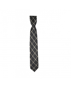 Boys Plaid Neckties Kids Formal Checkered Ties In Black and Gold