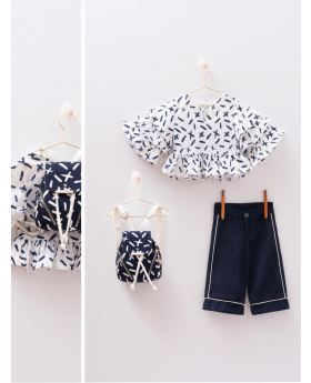 Toddler Baby Girl 4 Piece Set Summer Outfitblouse, trousers and backpack  in White & Navy Blue  Front picture