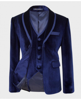 Velvet navy blue  Blazer jacket and waistcoat Picture