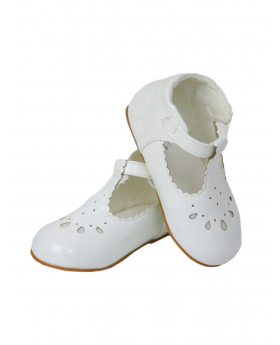Baby Girls Patterned Design Bridesmaid Wedding Party White Shoes