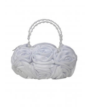 White Satin Ruffle Rose Flower Girls Handbag, view of the handbag.