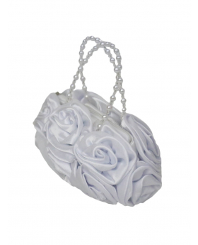 White Satin Ruffle Rose Flower Girls Handbag. View from the side of the handbag.