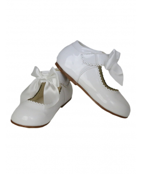 Girls White Hook And Loop Shoes With A Satin Bow view of the pair shoes