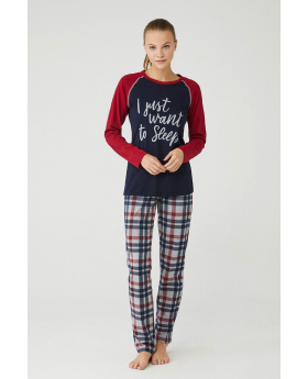 Women Comfortable Pyjama 2 Pieces Set in Burgundy & Navy Blue Front Picture