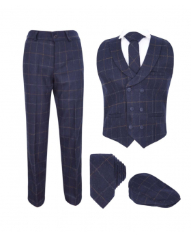 Flamingo Boys Tailored Fit Navy Blue Tweed Check Waistcoat Suit Set