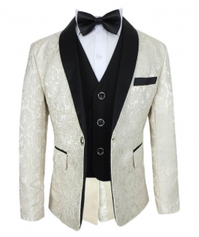 Boys Embroidered Style Cream Complete Suit Set