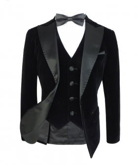 View from the blazer jacket, waistcoat, whirt and bow tie of the Romano Boys Velvet Tuxedo Suit with Black Sheen Lapel
