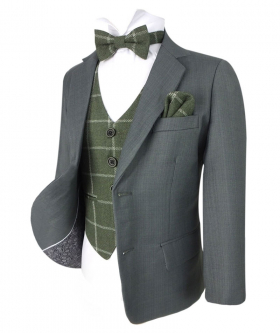 Designer Boys Light Grey Suit with Green Check Waistcoat Set view of the blazer jacket open