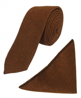 View of the tie and hanky from the Mens & Boys Cinnamon Brown Slim Tweed Tie and Pocket Square