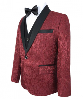 Boys Embroidered Style Red Complete Suit Set