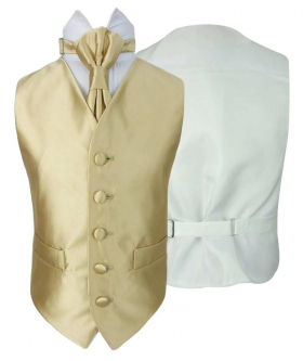 Romano Vianni Boys Gold Satin Waistcoat & Adjustable Cravat Set