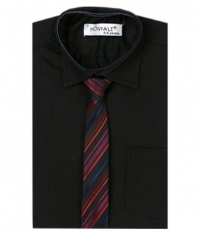 Boys Formal Black Shirt with Multi Colored Tie Set