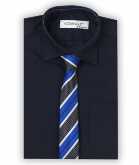 Boys Formal Navy Shirt with Multi Colored Tie Set