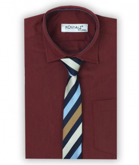 Boys Formal Burgundy Shirt with Multi Colored Tie Set