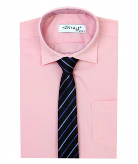 Boys Formal Pink Shirt with Multi Colored Tie Set
