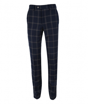 Men's Hardy Navy Blue Slim Fit Check Trousers