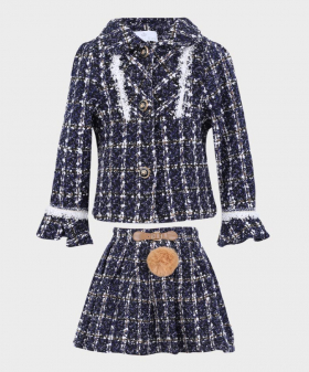 Navy blue tweed jacket with a matching skirt picture