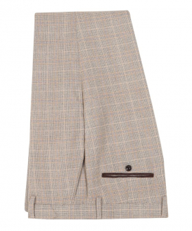 Paul Andrew Men Check Tweed Retro Trousers in Beige front picture