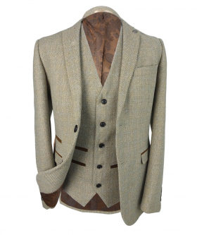 View of the blazer jacket and single breasted waistcoat of the Boys' Tweed Check Tailored Fit 3 Piece Suit in Beige