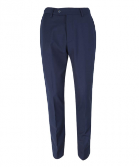Front view of the Men's Slim Fit Navy Blue Formal Trousers