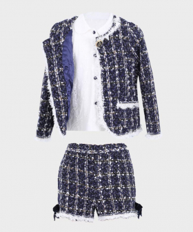 Girls Tweed Tailored Fit 3 PC Short Set in Navy Blue