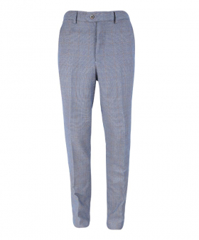 Front view of the Mens Delray Duck Egg Blue Slim Fit Tweed Check Trousers