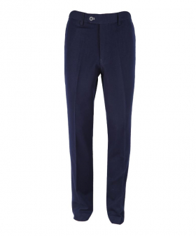 Front view of the Men's Denim Look Navy Blue Stretch Slim Fit Trousers