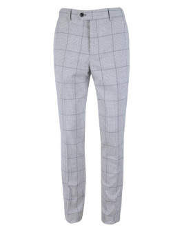 Front view of the Men's Light Grey Windowpane Check Heritage Slim Fit Trousers