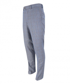 Side virew of the Mens Delray Duck Egg Blue Slim Fit Tweed Check Trousers