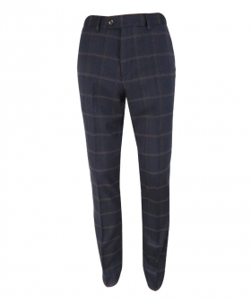 Men's Connall Navy Blue Slim Fit Tweed Check Trousers