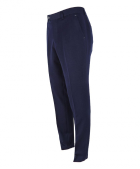 Side view of the Men's Denim Look Navy Blue Stretch Slim Fit Trousers