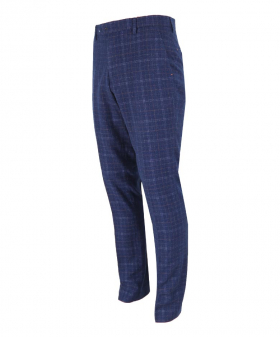 Mens Slim Fit Navy Blue Houndstooth Check Tweed Trousers